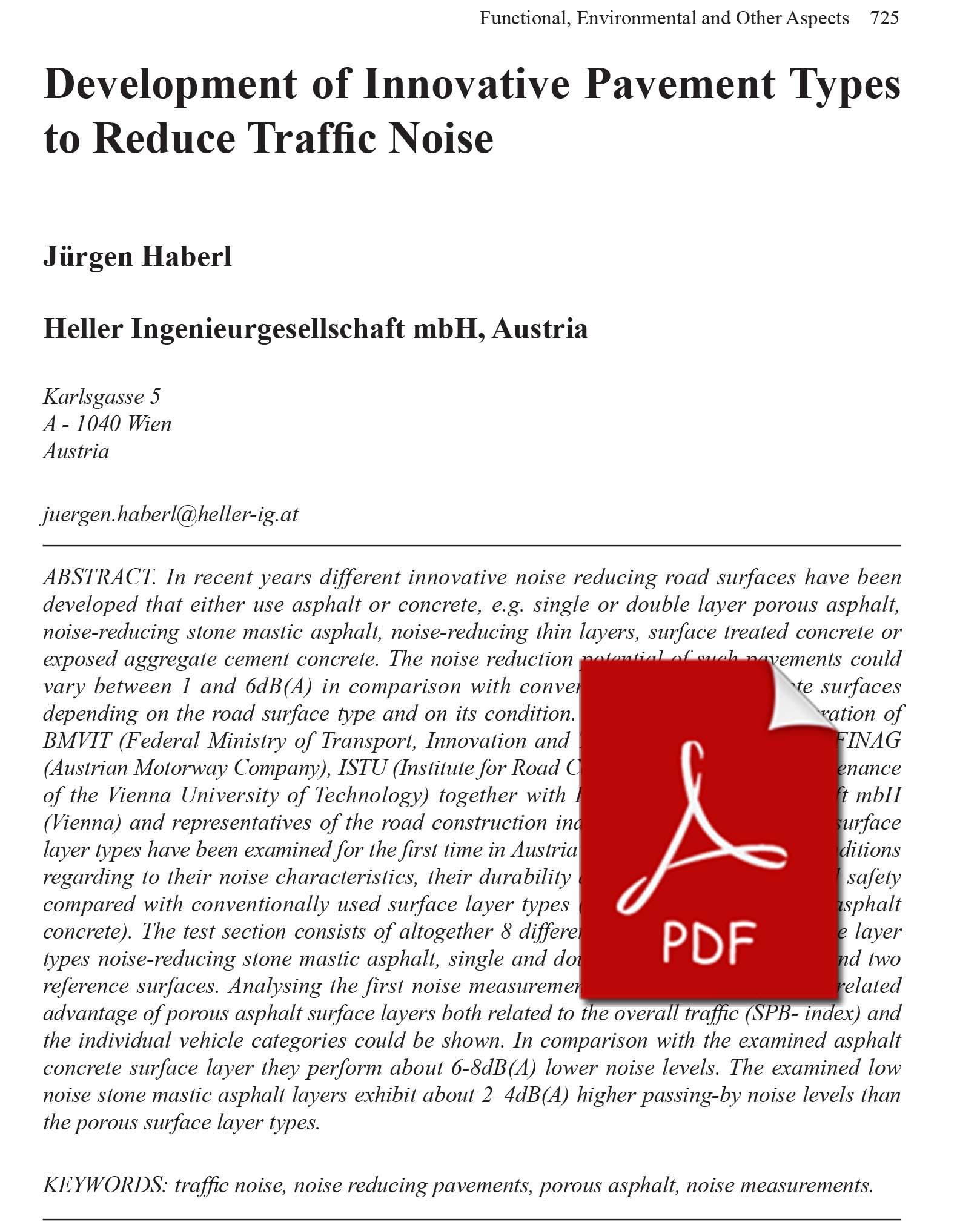 Development of Innovative Pavement Types to Reduce Traffic Noise